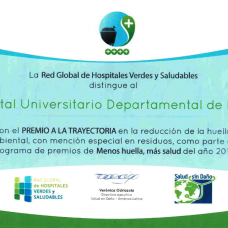 HUDN recibe premio internacional de la Red Global de Hospitales Verdes y Saludables